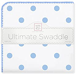 SwaddleDesigns Ultimate Swaddle Blanket, Made in USA, Premium Cotton Flannel, Blue Big Dots
