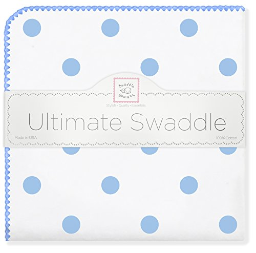 (SwaddleDesigns Ultimate Swaddle, X-Large Receiving Blanket, Made in USA Premium Cotton Flannel, Blue Big Dots (Mom's Choice Award Winner))