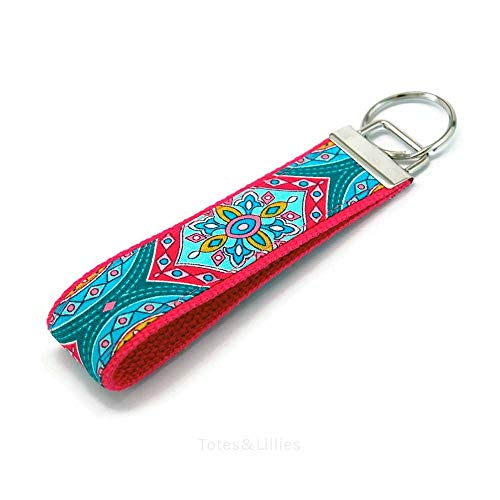 Turquoise Blue and Pink Medallion Fabric Key Fob Free ()