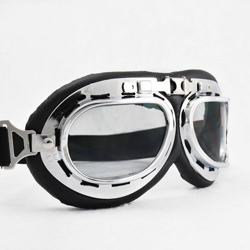 Raf Aviator Costume (WWII RAF German Military Army Aviator Chrome Sun UV Wind Eye Protect Goggle For Motorcycle ATV Bike Bicycle Helmet)