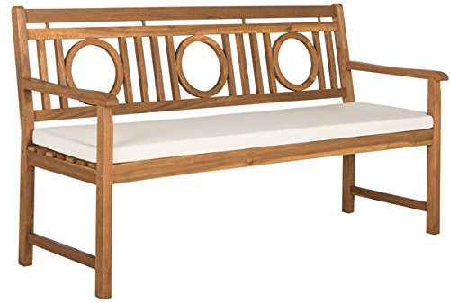 Safavieh PAT6736A Outdoor Collection Montclair 3 Seat Bench, Teak Brown/Beige (Seating Teak Brown)