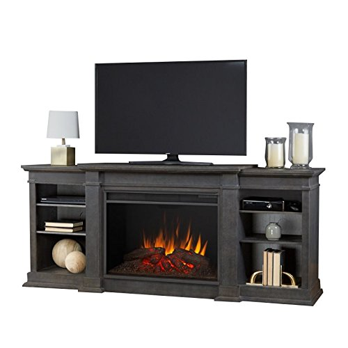 Real Flame 1290E-AGR 1290E Eliot Grand Entertainment Unit with Electric Fireplace in Antique Gray, Large ()