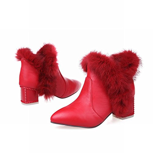 Carol Shoes Women's Fashion Western Mid-heel Short Snow Boots Red B1csAR