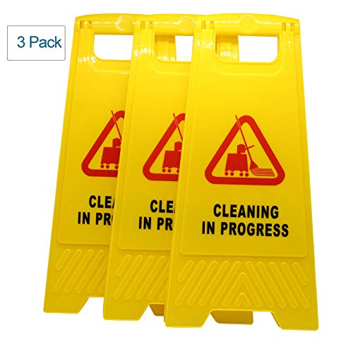 Hotelware (Pack of 3) Cleaning in Progress Warning Sign with Vivid Symbol Caution Floor Stand SignYellow from Hotelware