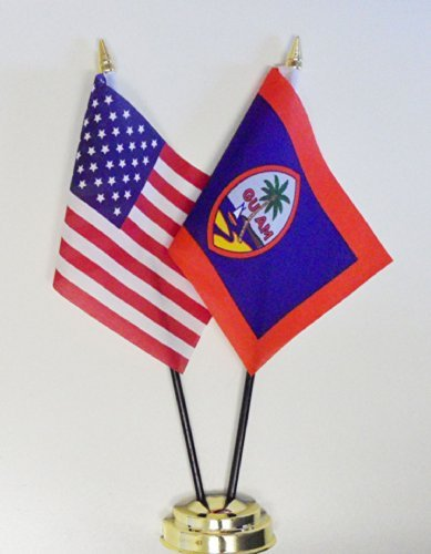 United States of America & Guam Friendship Table Flag Display 25cm (10'')