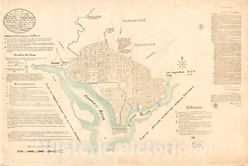 Historic 1791 Map | Plan of The City Intended for The Permanent seat of The Government of t[he] United States : projected Agreeable to The Direction of The President of The United States, 66in x 44in