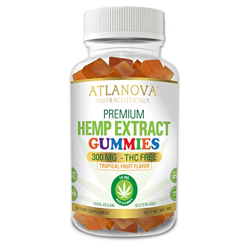 Premium Hemp Extract Oil Gummies by ATLANOVA™ 300 MG - All Natural 30 CT - 10 mg Per Gummy, Organically Grown, With Vitamin D3 & B12 and Omega 3,6,9 – NON GMO, FDA Registered GMP Facility, Made In USA