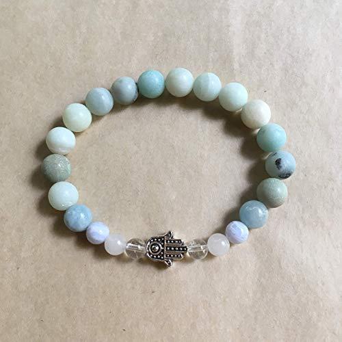 (Hamsa Bracelet for Women, Men - Reiki Healing Amazonite, Aquamarine, Blue Lace Agate, Snow Quartz Crystal Jewelry - Calming Anxiety, Inner Peace, EMF Protection)