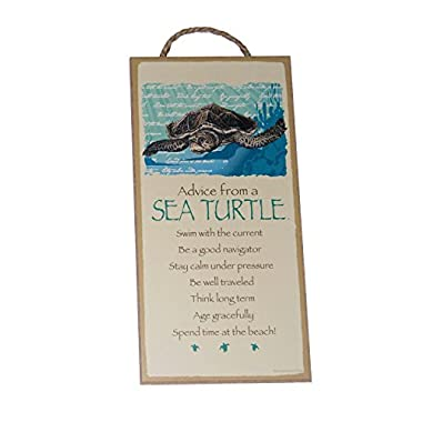 Advice from a Sea Turtle Novelty, Inspirational 5x10 Wood Plaque Sign for Wall