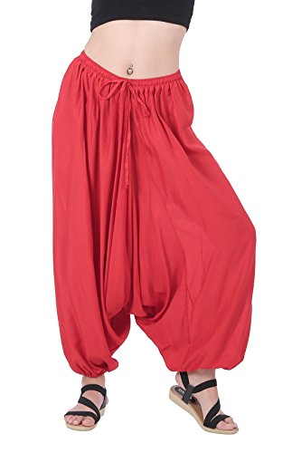 CandyHusky Men Women Baggy Hippie Boho Gypsy Yoga Harem Pants Aladdin Costumes (Red)