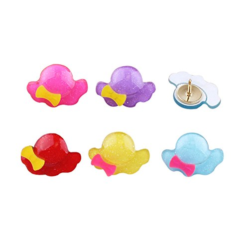 Pin Hat Shaped (Creative Cute Cartoon Apple Shape Hat Shape Horse Shape Pushpins Drawing Pins 15PCS (Hat-shaped))