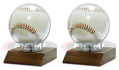 Wood Baseball Holder (Real Hardwood Base Authentic Regulation Baseball Holder - 2 Pack)