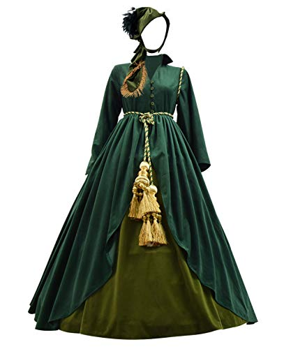Classic Movie Gone Wind Scarlett Costume Women Green Fancy Dress Costume (US Women-L, Green) -