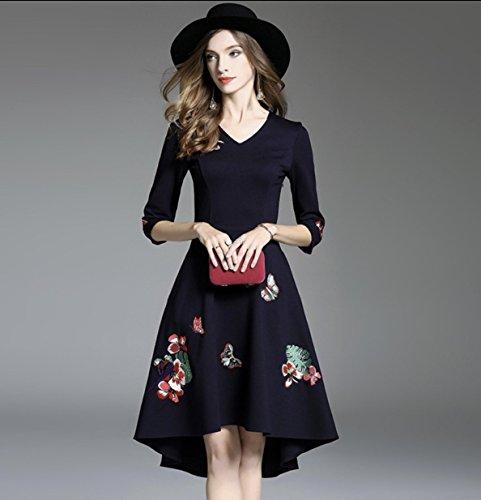 モルヒネ下着倉庫上品 フィッシュテール 刺繍 お呼ばれ 結婚式 ドレス☆3色(Navy-Sサイズ)
