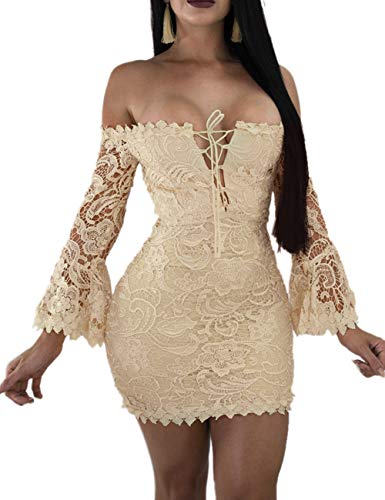 - Women's Lace Dress Sexy Off Shoulder Flare Sleeve Floral Bodycon Party Club Dress Beige