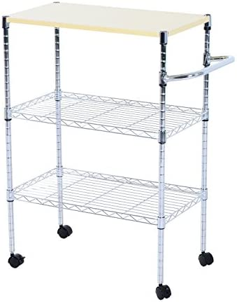 HOMCOM 24-in. Portable Rolling Wire Shelf Wood-Top Kitchen Storage Trolley