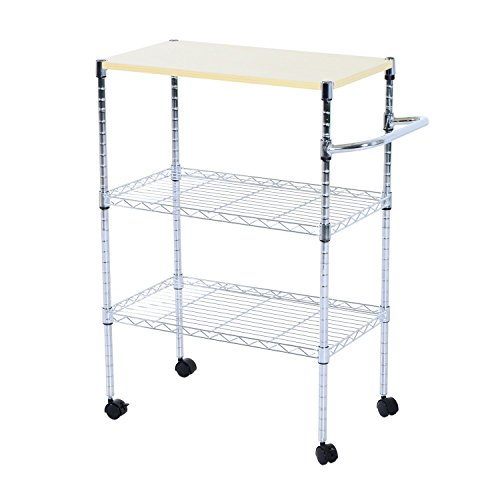 HomCom 24-in. Portable Rolling Wire Shelf Wood-Top Kitchen Storage Trolley by HOMCOM