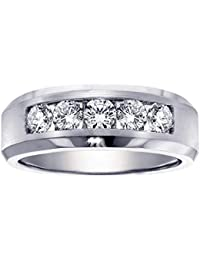 100 ct tw 5 stone channel set diamond mens wedding ring in 18k white gold - Mens White Gold Wedding Rings