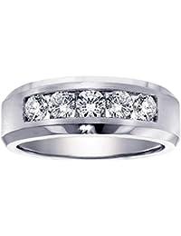 100 ct tw 5 stone channel set diamond mens wedding ring in 18k white gold - Mens Diamond Wedding Rings White Gold