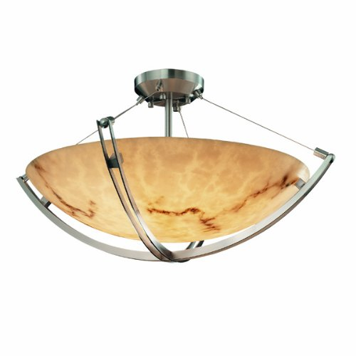 Justice Design Group FAL-9711-35-DBRZ LumenAria Collection Semi-Flush Bowl with CrossBar, 18