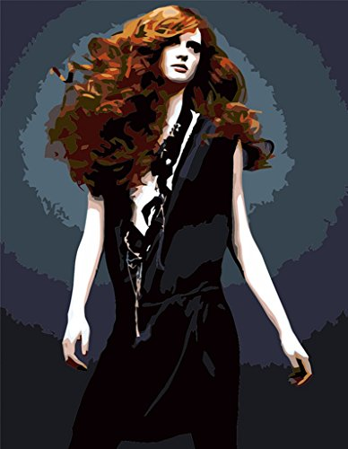YEESAM ART DIY Paint by Numbers for Adults Beginner Kids, Red Hair Woman 16x20 inch Linen Canvas Acrylic Stress Less Number Painting Gifts (Woman, Without Frame)