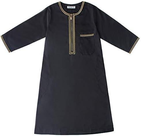 イスラム教徒の子供男の子カフタンアラブイスラム中東ティーンジッパー長袖ローブ
