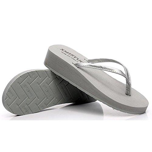 SHANGXIAN zapatillas antideslizantes playa de las mujeres de la cuña de la sandalia , b , 35/36