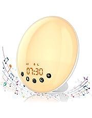 Hosome Wake Up Light Despertador con Luz Simulación de Amanecer/Atardecer, Despertador Digital con Alarma Función de Snooze y Radio FM, 8 Sonidos Naturales y 1 Grabación, 7 Colores Lámpara Ambiental