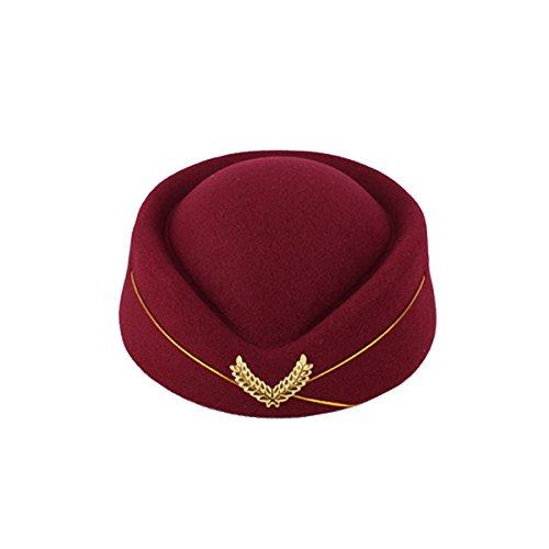 BESTOYARD Women Air Stewardess Hat Woolen Flight Attendant Hat Stewardess Cap for Costume Cosplay Musical Performance - Size M(Wine Red)