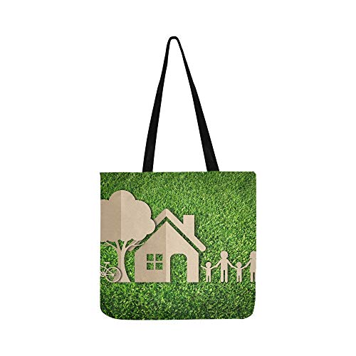 Paper Cut Of Family On Green Grass Canvas Tote Handbag Shoulder Bag Crossbody Bags Purses For Men And Women Shopping Tote (Shopping Family Partridge Bag)
