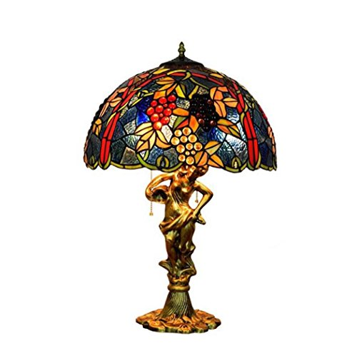 Tiffany Style Desk Lamp/Blue Grape Design Table Lamp, Stained Glass Creative Living Room Bedroom Bedside Decoration Table Lamp