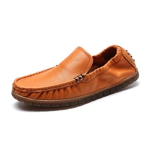 on Hombres tamaño Mocasín Los Slip Mocasín negro Cuero Afcity Cuclillas Genuino De Zapato 0cm 26 24 Conducción Comfort Blanco 5cm Clás Amarillo Mocasines gommino Zapatos OxnC7
