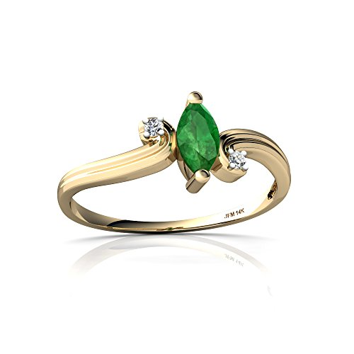 14kt Yellow Gold Emerald and Diamond 6x3mm Marquise Ocean Waves Ring - Size 7 (Emerald 14kt Gold 6x4)