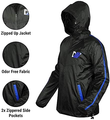 DMoose Sauna Suit for Men and Women, Sweat Suit for Weight Loss 2 Pc Set, Zipper Jacket Pant with Hood Full Body Gym Fit Wear, Anti-Rip Workout Suit Sports Running Cycling Yoga Pilates Boxing Anti-Rip 2