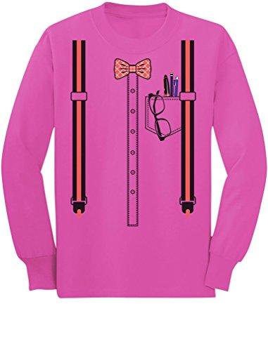 Halloween Nerd Suspenders Bowtie Geek Costume Toddler/Kids Long Sleeve T-Shirt 3T Pink -