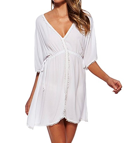 Jeasona(TM) Women's V-Neck White Chiffon Sheer Beach Dress Swimsuit Cover Up