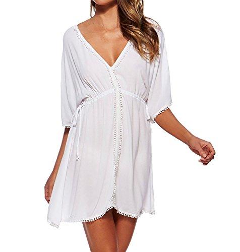 Jeasona(TM) Women's V-Neck White Chiffon Sheer Beach Dress
