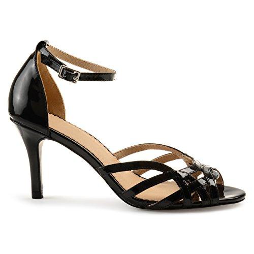 Brinley Co Womens Merika Faux Leather Ankle Strap Metallic Heels Black TF9XDJW
