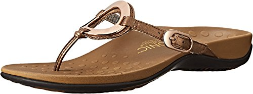 - Vionic Women's Rest Karina Toe-Post Sandal - Ladies Flip- Flop with Concealed Orthotic Arch Support Bronze 9 M US