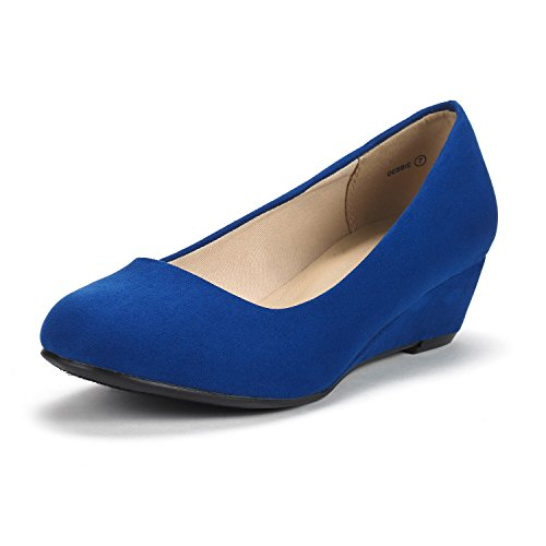 (DREAM PAIRS Women's Debbie Royal Blue Mid Wedge Heel Pump Shoes - 5.5 M US)