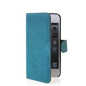 Bloutina MOONCASE Flip Leather Wallet Card Shell Pouch Stand Case Cover For Apple iPhone 5 5G 5S Blue