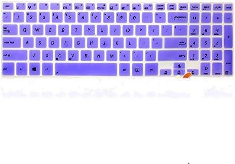 Leze Ultra Thin Keyboard Cover Skin Protector for 15.6 inch Asus VivoBook A551L K551LN S551LA S551LN S551X V551 V551LA V551LB R553L R553LN Transformer Book Flip TP500LA TP500LN Semi Purple