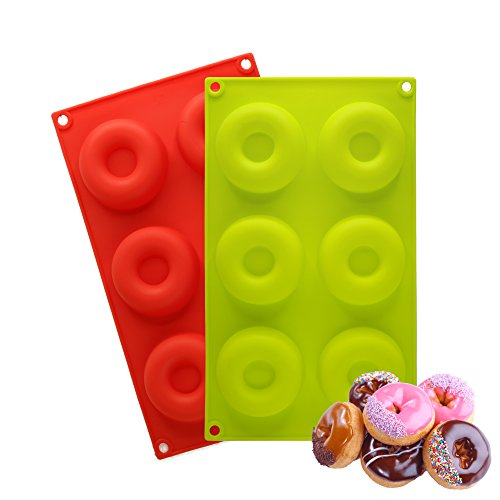 2 Silicone Donut Baking Pan Set, Non Stick with BONUS Pastry Bag and Puff Tip