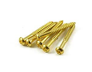 electric guitar strat tremolo bridge mounting screws gold qty 6 musical instruments. Black Bedroom Furniture Sets. Home Design Ideas