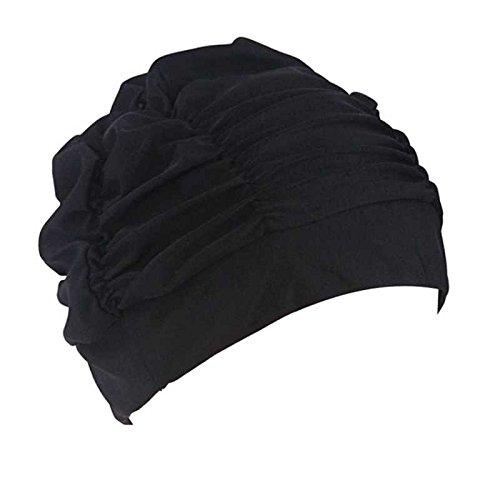 XENO-Pure Color Adult Women Nylon Stretch Swim Cap Bathing Hat Earmuffs Swimming Caps (#3)