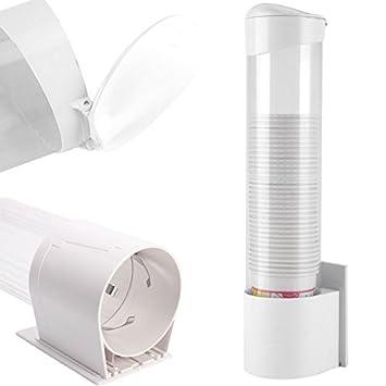 DOBO® Dispensador de Pared Puerta Vasos y Tazas de plástico con fijación a Trineo Sobre Placa Adhesivo o con Tornillos: Amazon.es: Hogar