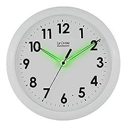 La Crosse Illuminated 403-310 10 Inch White frame clock