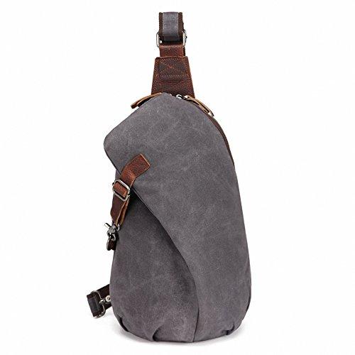 Canvas Sling (AOTIAN Men's Sling Backpack Waxed Canvas Crossbody Bag 10 Liters Gray - Purple, Warranty 2-Years)