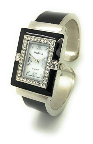 (Ladies Square Enamel Metal Bangle Cuff Fashion Watch Pearl Dial Wincci (Black))