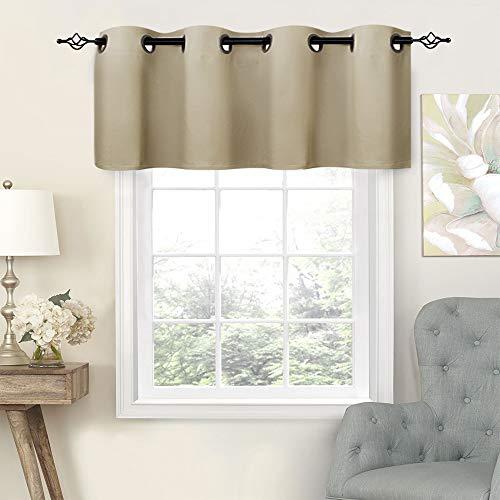(Taupe Valance 16 inch Bathroom Valances Kitchen Windows Living Room Valance Curtains Grommet Curtain Valances)